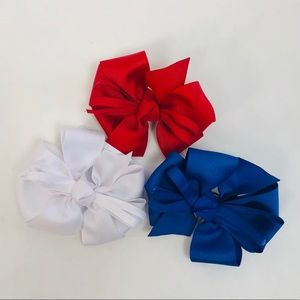 NEW Girls Bows Red White and Blue Trio